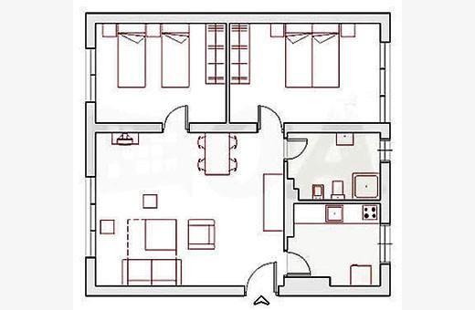 Raspored prostorija, Apartman Skadarlija - Beograd