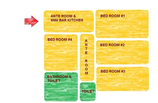 Raspored prostorija, Apartman Komunac - Novi Beograd